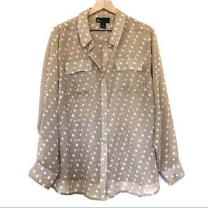 Lane Bryant | Tan Polka Dot Button Down Blouse